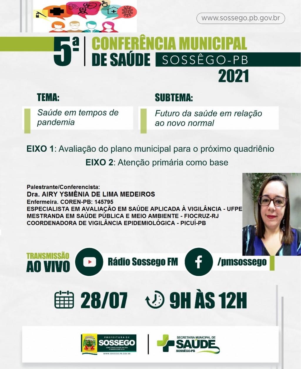 SOSSÊGO VAI REALIZA A V CONFERÊNCIA MUNICIPAL DE SAÚDE